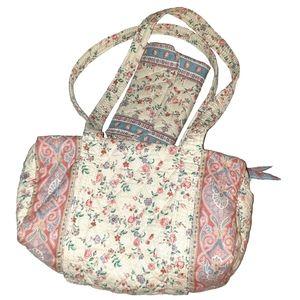 Cream Pink Floral Vera Bradley Purse and Wallet